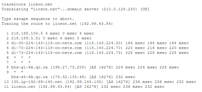Traceroute to my web server